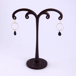 Boucles d'oreilles anneaux et gouttes noires