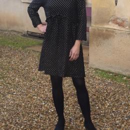 Robe habillée 100% coton, noire (disponible seulement en S)