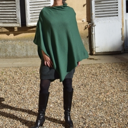 Poncho 100% cachemire, vert bouteille