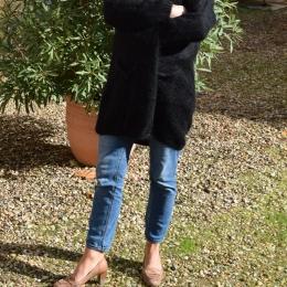 Veste longue en mohair, noire