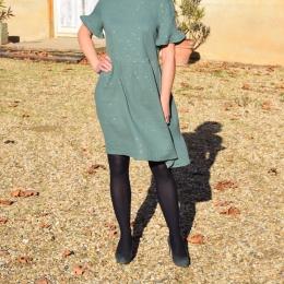 Robe habillée, 100% coton, paillettes dorées, verte (M)