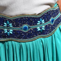 Ceinture perles bleue