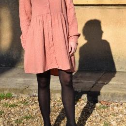 Robe chemise 100% coton, vieux rose, motifs dorés