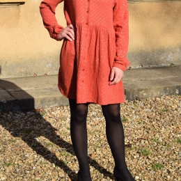 Robe chemise 100% coton, motifs dorés (M/L)