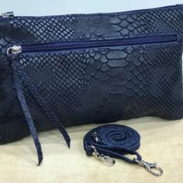 Pochette avec bandoulière, reptile bleu marine