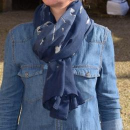Foulard paillettes, bleu marine