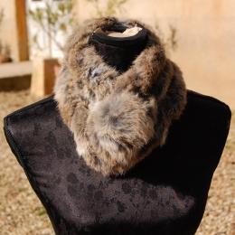 Echarpe en fourrure de lapin, beige naturel