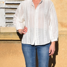 Blouse blanche, broderie, 100% coton