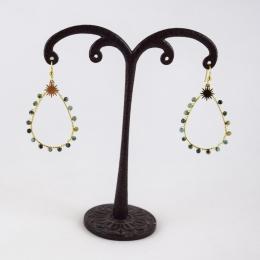 Boucles d'oreilles 2, pierres vertes