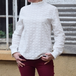 Top 100% coton, broderies, blanc