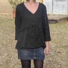 Top habillé 100% coton, noir, manches longues