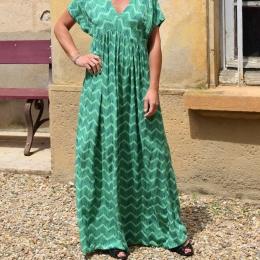 Robe longue, taille unique, verte