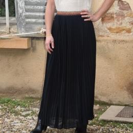 Jupe plissée longue noire