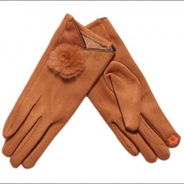 Gants tactiles fourrure naturelle, marron