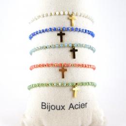 Bracelets élastiques, croix dorée