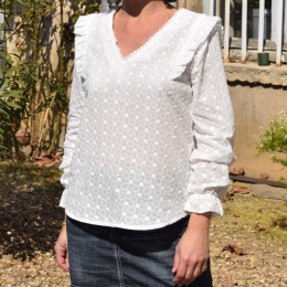 Blouse blanche, broderies, 100% coton