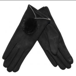 Gants tactiles fourrure naturelle, noir