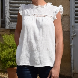 Top 100% coton, petits volants, borderies, blanc