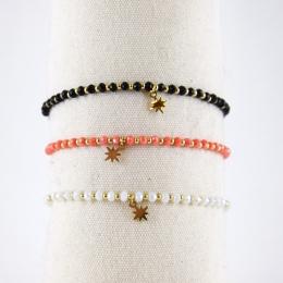 Bracelets élastiques, étoile dorée
