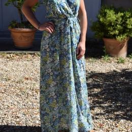 Robe longue fleurie, 100% coton (S)