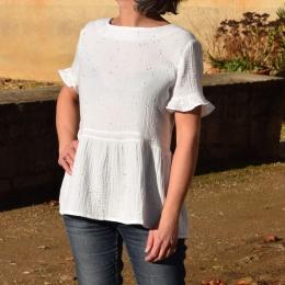 Top habillé 100% coton, blanc, paillettes dorées