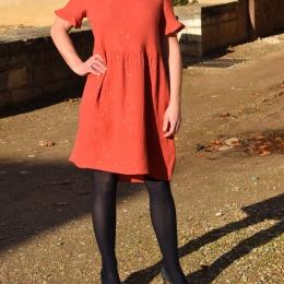 Robe habillée, 100% coton, paillettes dorées (S et M)