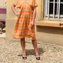 Robe courte, taille unique, orange