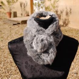 Echarpe en fourrure de lapin, gris naturel