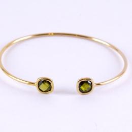 Bracelet jonc en plaqué or, vert olive