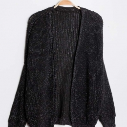 Cardigan brillant, fil lurex, noir