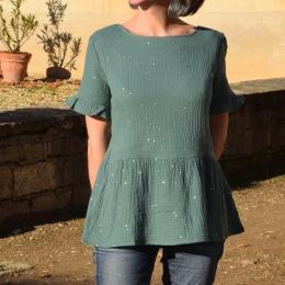 Top habillé 100% coton, vert, pastilles dorées (disponible seulement en M)