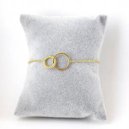 bracelet double anneaux dorés