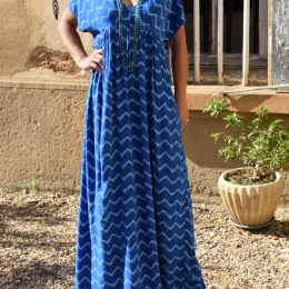 Robe longue, bleue, taille unique