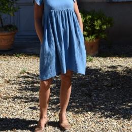 Robe bleue 100% coton (L)